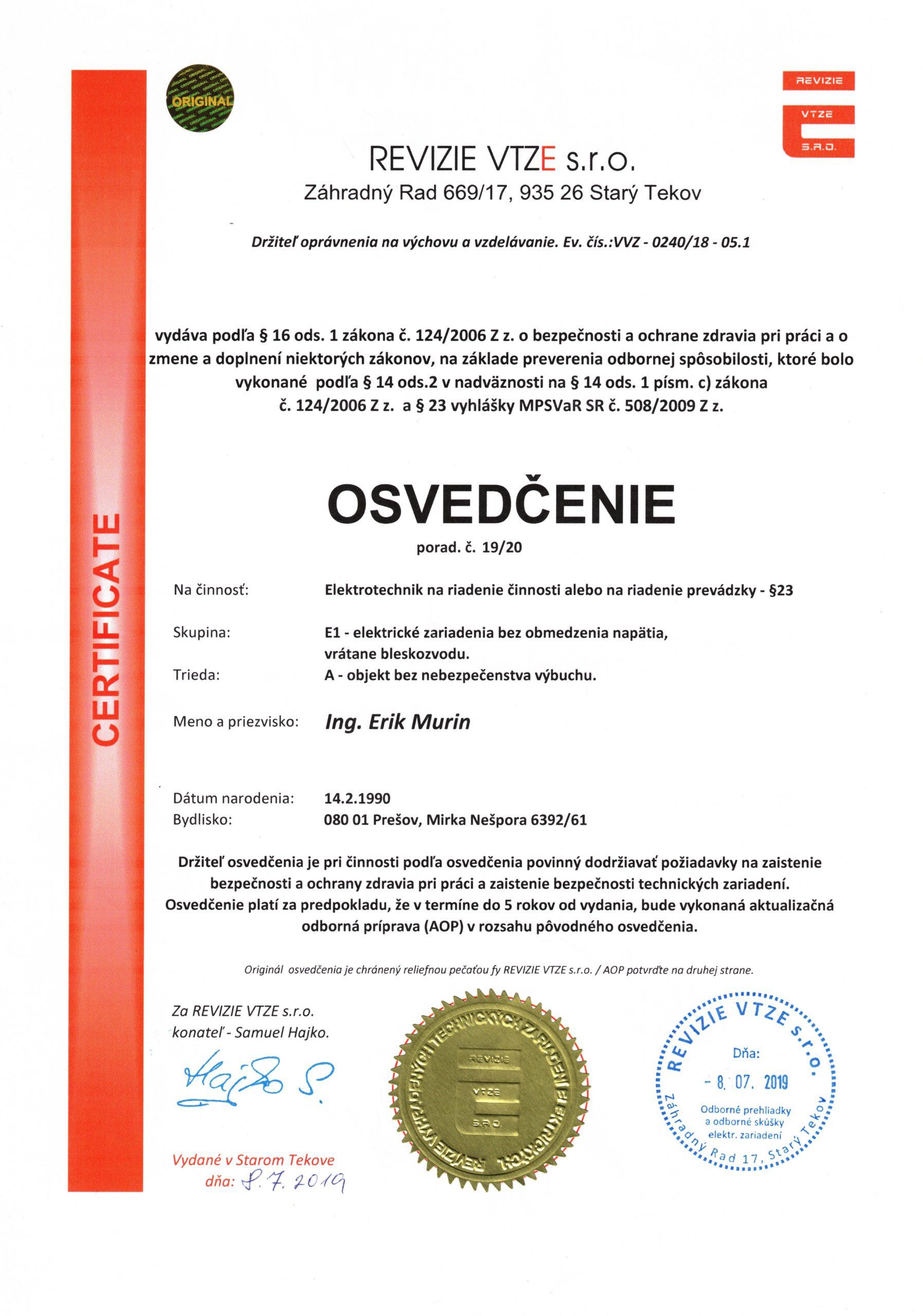 Certifikát_Erik_Murin_1